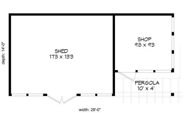 Cabin Floor Plan - Main Floor Plan Plan #932-219