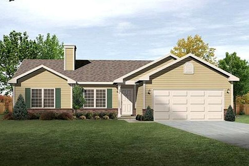 Ranch Style House Plan - 3 Beds 2 Baths 1414 Sq/Ft Plan #22-536 Exterior - Front Elevation