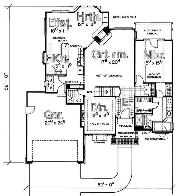 Home Plan - Traditional Floor Plan - Main Floor Plan #20-155
