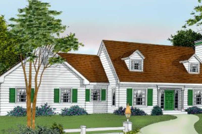 Colonial Exterior - Front Elevation Plan #98-207