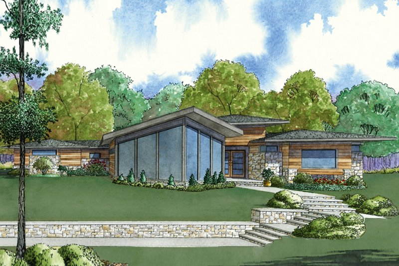 Dream House Plan - Contemporary Exterior - Front Elevation Plan #923-71