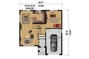Contemporary Style House Plan - 2 Beds 1 Baths 1317 Sq/Ft Plan #25-4296 Floor Plan - Main Floor Plan