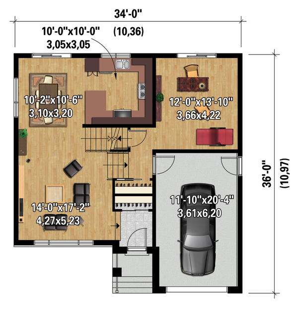 Contemporary Floor Plan - Main Floor Plan Plan #25-4296