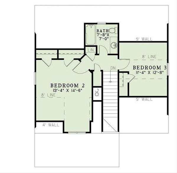 Craftsman Style House Plan - 3 Beds 2 Baths 1374 Sq/Ft Plan #17-2450 Floor Plan - Upper Floor Plan