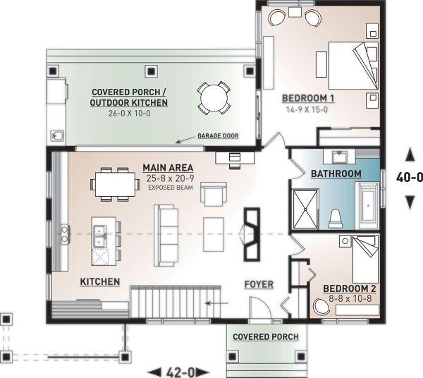 Contemporary Floor Plan - Main Floor Plan Plan #23-2316