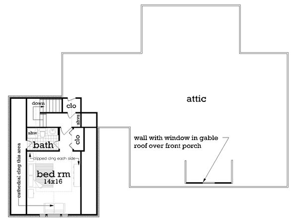 Southern Floor Plan - Upper Floor Plan Plan #45-572