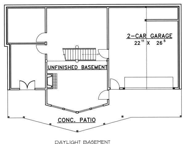 Bungalow Floor Plan - Lower Floor Plan Plan #117-580