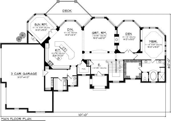 European Floor Plan - Main Floor Plan Plan #70-1145