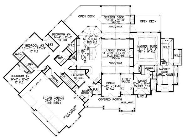 Craftsman Floor Plan - Main Floor Plan Plan #54-385