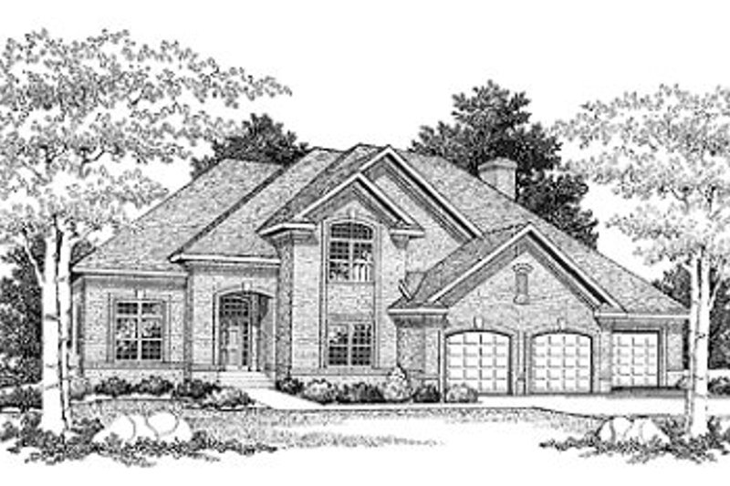 European Style House Plan - 4 Beds 2.5 Baths 3204 Sq/Ft Plan #70-497 Exterior - Front Elevation
