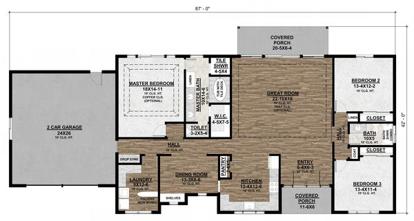 Ranch Floor Plan - Main Floor Plan Plan #1077-4