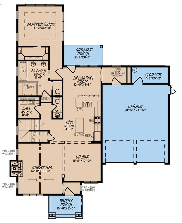 Craftsman Floor Plan - Main Floor Plan #923-169