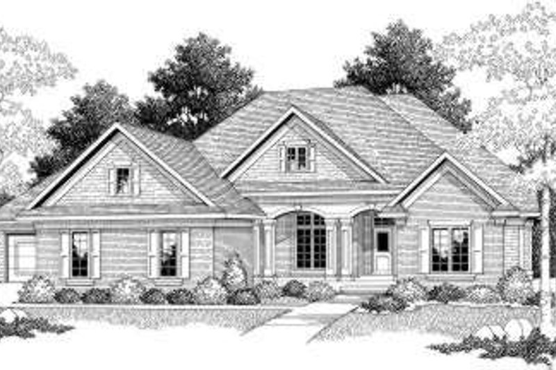 Traditional Style House Plan - 2 Beds 2 Baths 2194 Sq/Ft Plan #70-586 Exterior - Front Elevation