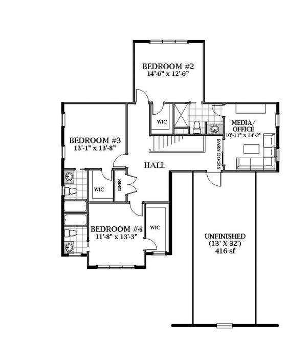 Craftsman Floor Plan - Upper Floor Plan Plan #898-51