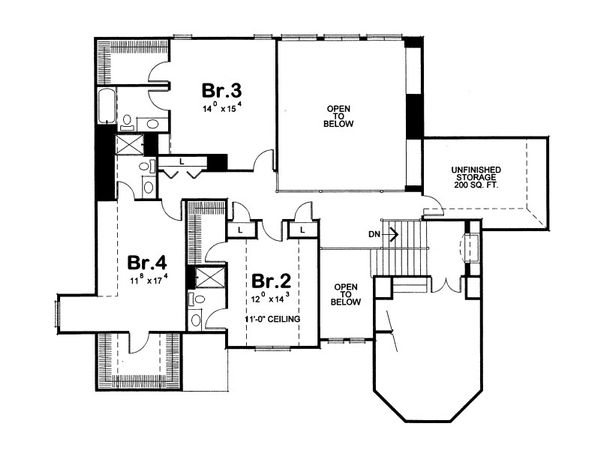 European Floor Plan - Upper Floor Plan Plan #20-2047