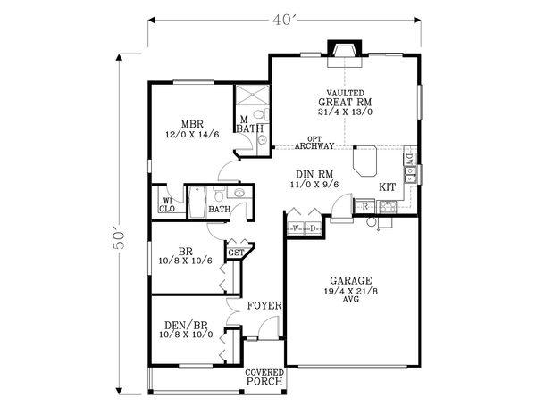 Craftsman Floor Plan - Main Floor Plan Plan #53-599
