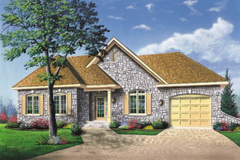 European Exterior - Front Elevation Plan #23-136