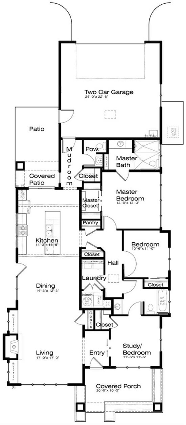 Prairie Floor Plan - Main Floor Plan Plan #434-12