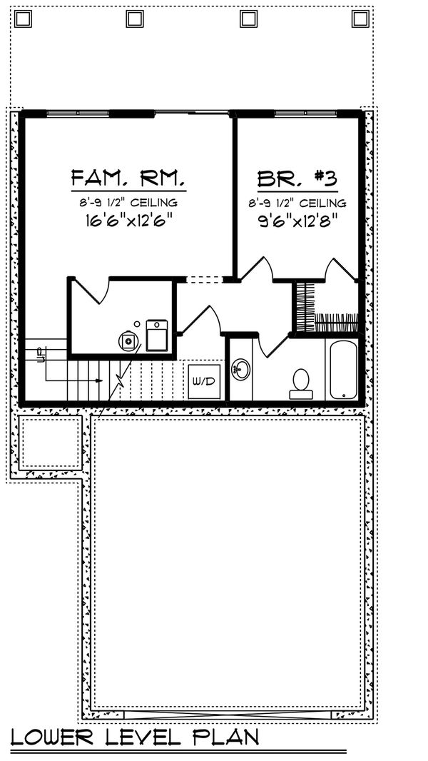 Craftsman Floor Plan - Lower Floor Plan Plan #70-1492