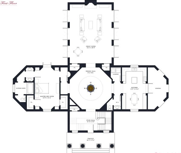 Main Level floor plan - 5500 square foot Classical home