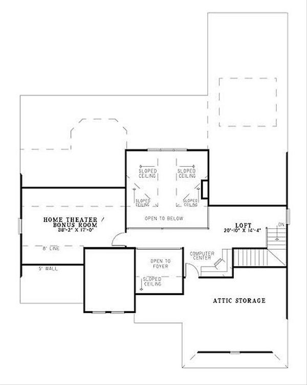 European Floor Plan - Upper Floor Plan Plan #17-221