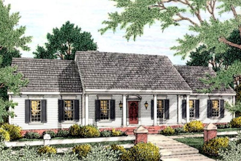 Southern Exterior - Front Elevation Plan #406-128 - Houseplans.com