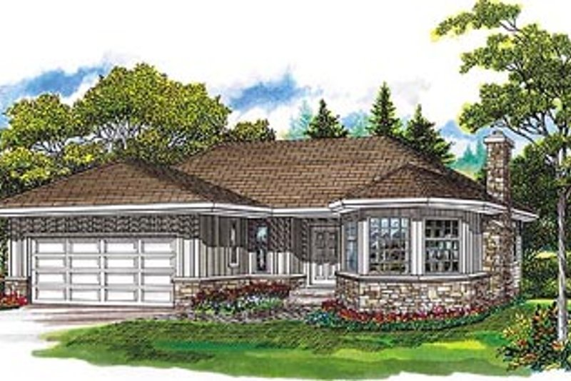 Traditional Style House Plan - 3 Beds 2 Baths 1486 Sq/Ft Plan #47-346 Exterior - Front Elevation