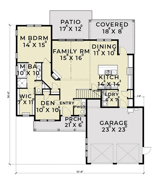 Farmhouse Floor Plan - Main Floor Plan Plan #1070-2
