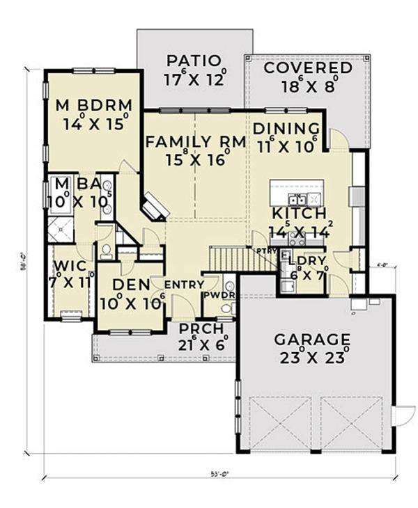 House Plan Design - Farmhouse Floor Plan - Main Floor Plan #1070-2