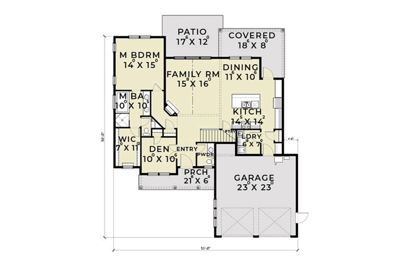 Farmhouse Floor Plan - Main Floor Plan Plan #1070-2