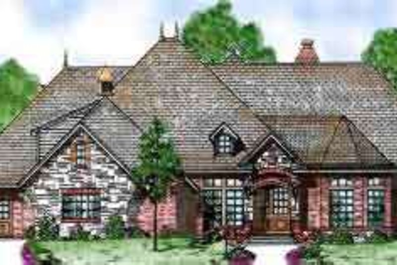 European Style House Plan - 4 Beds 3.5 Baths 3233 Sq/Ft Plan #52-175 Exterior - Front Elevation