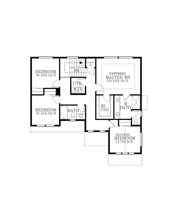 Craftsman Floor Plan - Upper Floor Plan Plan #53-606