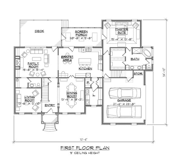 Traditional Floor Plan - Main Floor Plan Plan #1054-61