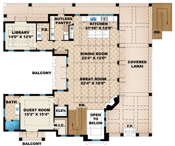 Mediterranean Floor Plan - Main Floor Plan Plan #27-450