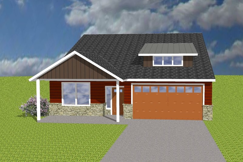 Ranch Style House Plan - 4 Beds 2 Baths 1500 Sq/Ft Plan #423-69 Exterior - Front Elevation
