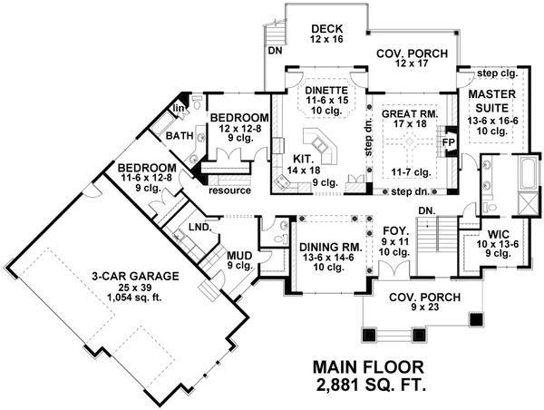 Craftsman Floor Plan - Main Floor Plan Plan #51-334