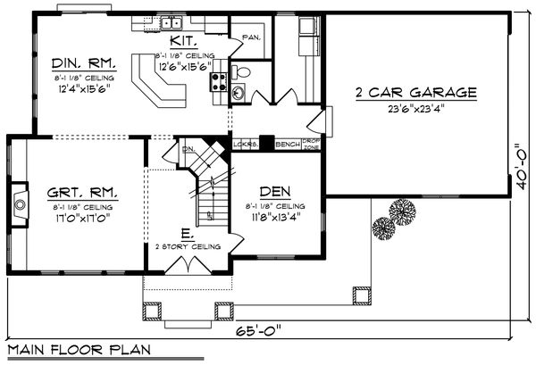Craftsman Floor Plan - Main Floor Plan Plan #70-1226