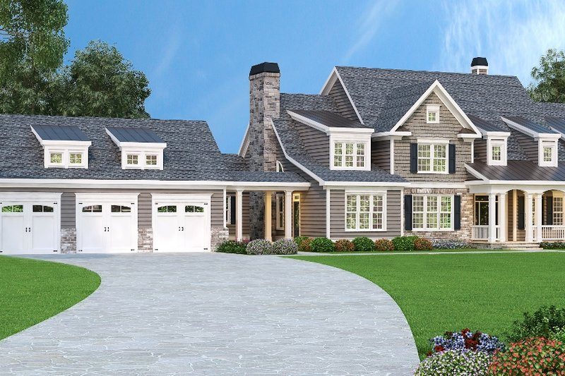 Traditional Style House Plan - 5 Beds 4.5 Baths 4416 Sq/Ft Plan #419-123 Exterior - Front Elevation