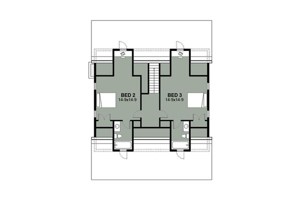 Farmhouse Floor Plan - Upper Floor Plan Plan #497-7