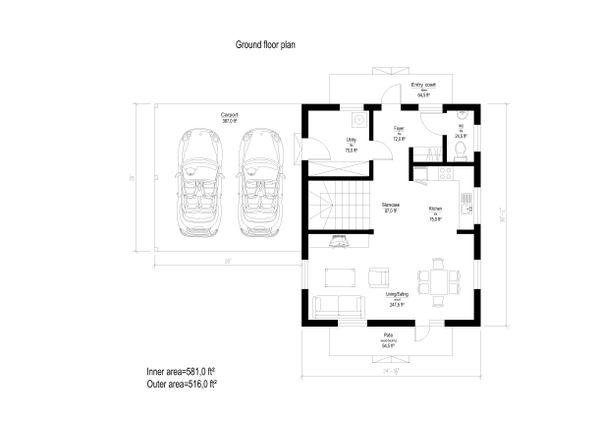 European Style House Plan - 3 Beds 1 Baths 1815 Sq/Ft Plan #549-9 Floor Plan - Main Floor Plan
