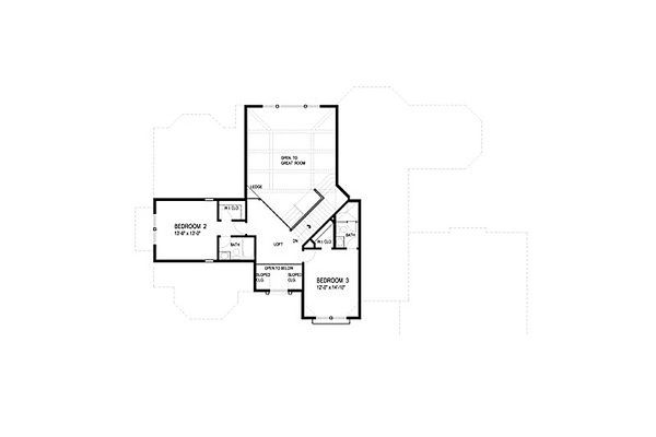 European Floor Plan - Upper Floor Plan Plan #56-591