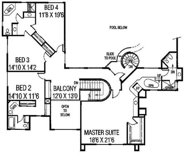 Modern Floor Plan - Upper Floor Plan Plan #60-654