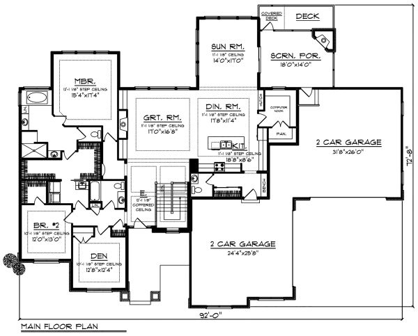 House Plan Design - Ranch Floor Plan - Main Floor Plan #70-1502