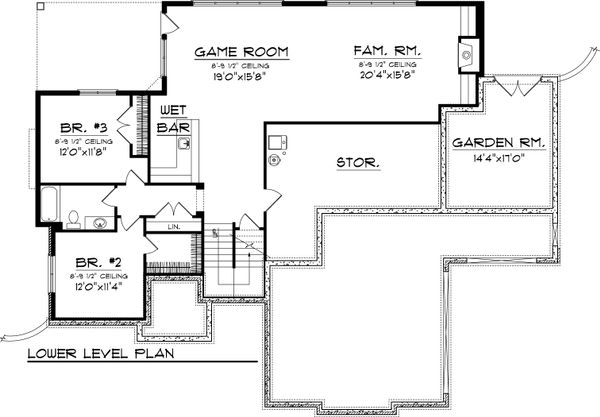 Traditional Floor Plan - Lower Floor Plan Plan #70-1066