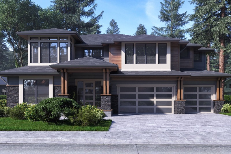 Contemporary Style House Plan - 4 Beds 4 Baths 3450 Sq/Ft Plan #1066-47 Exterior - Front Elevation