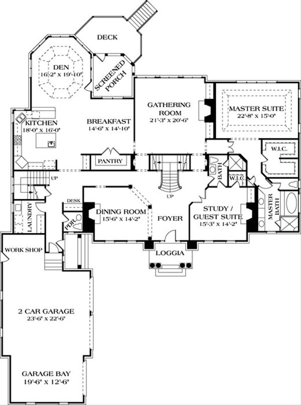 Colonial Floor Plan - Main Floor Plan Plan #453-27