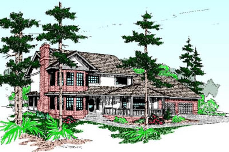 Traditional Exterior - Front Elevation Plan #60-199 - Houseplans.com