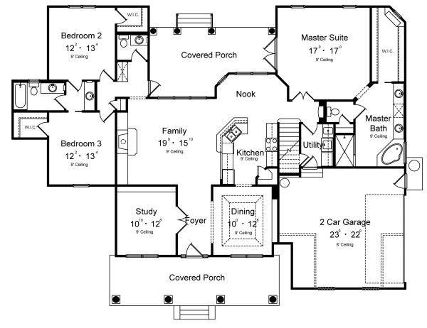 House Design - Colonial Floor Plan - Main Floor Plan #417-219