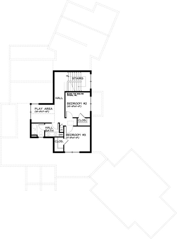 Craftsman Style House Plan - 3 Beds 2.5 Baths 3009 Sq/Ft Plan #895-4 Floor Plan - Upper Floor Plan
