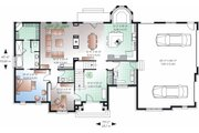 European Style House Plan - 5 Beds 3.5 Baths 3187 Sq/Ft Plan #23-828 Floor Plan - Main Floor Plan